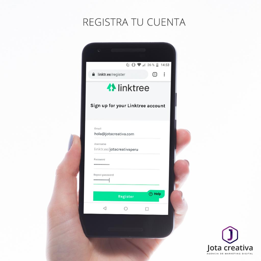 Registra tu cuenta en linktree